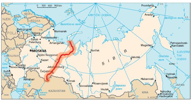 Los Montes Urales en el Mapa